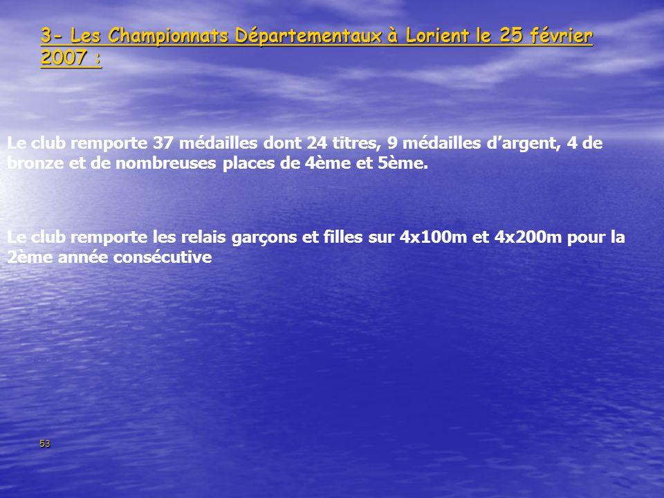 3- Les Championnats Départementaux à Lorient le 25 février 2007 :