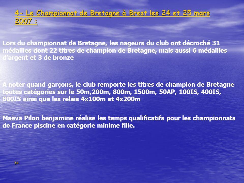 4- Le Championnat de Bretagne à Brest les 24 et 25 mars 2007 :