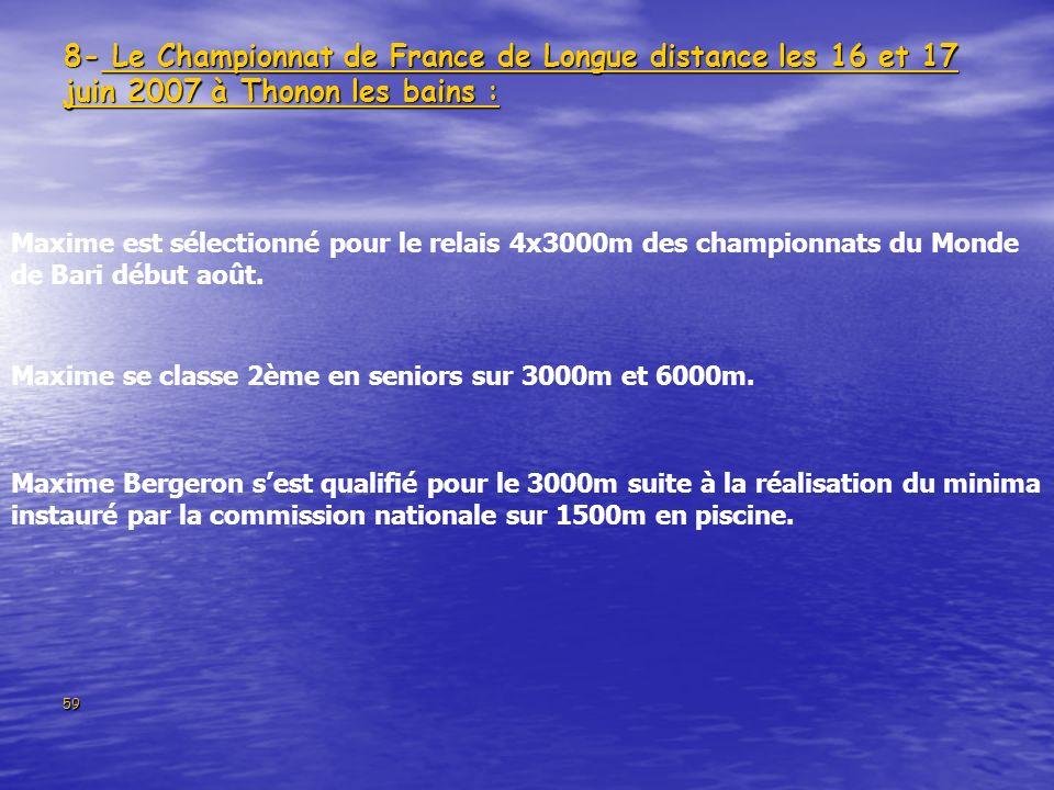 8- Le Championnat de France de Longue distance les 16 et 17 juin 2007 à Thonon les bains :