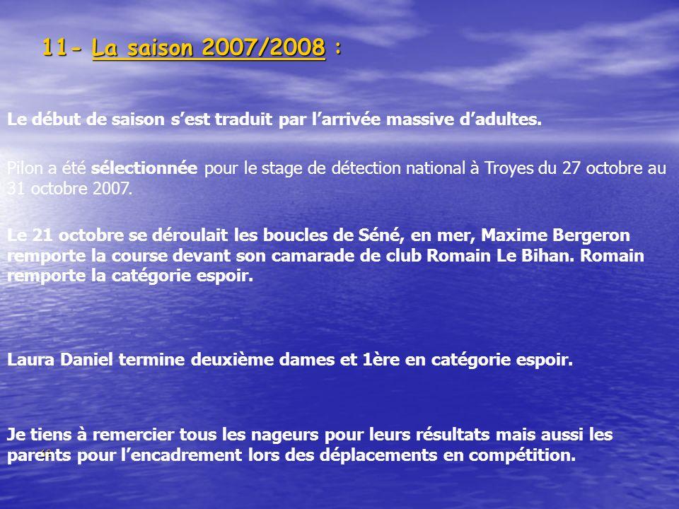 11- La saison 2007/2008 : Le début de saison s'est traduit par l'arrivée massive d'adultes.