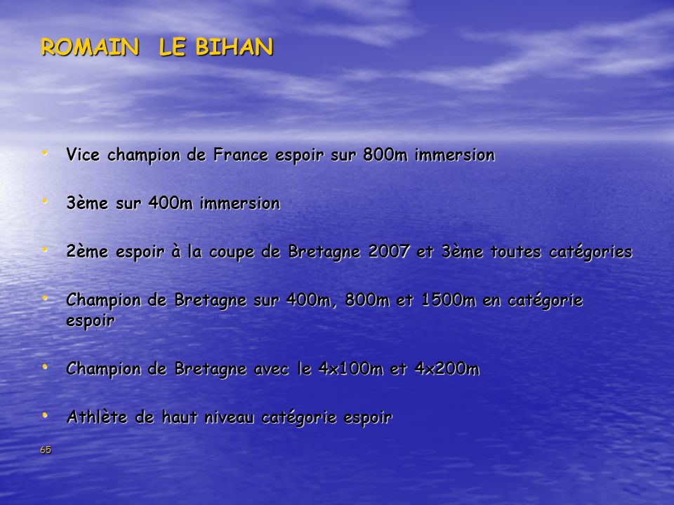 ROMAIN LE BIHAN Vice champion de France espoir sur 800m immersion