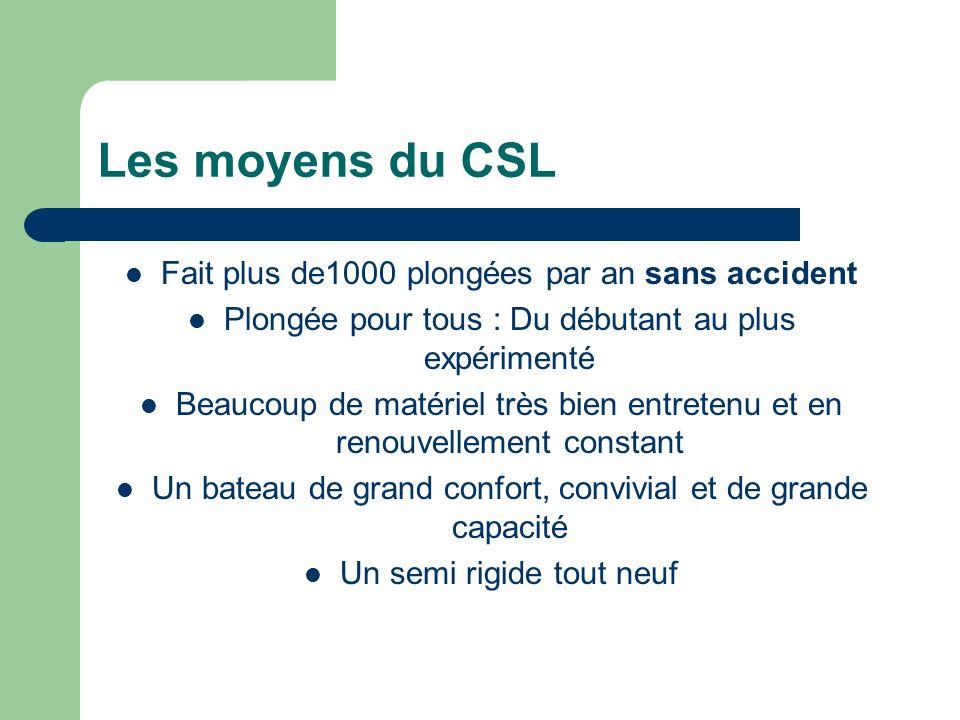 Les moyens du CSL Fait plus de1000 plongées par an sans accident