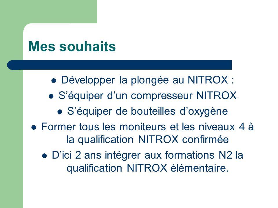 Mes souhaits Développer la plongée au NITROX :