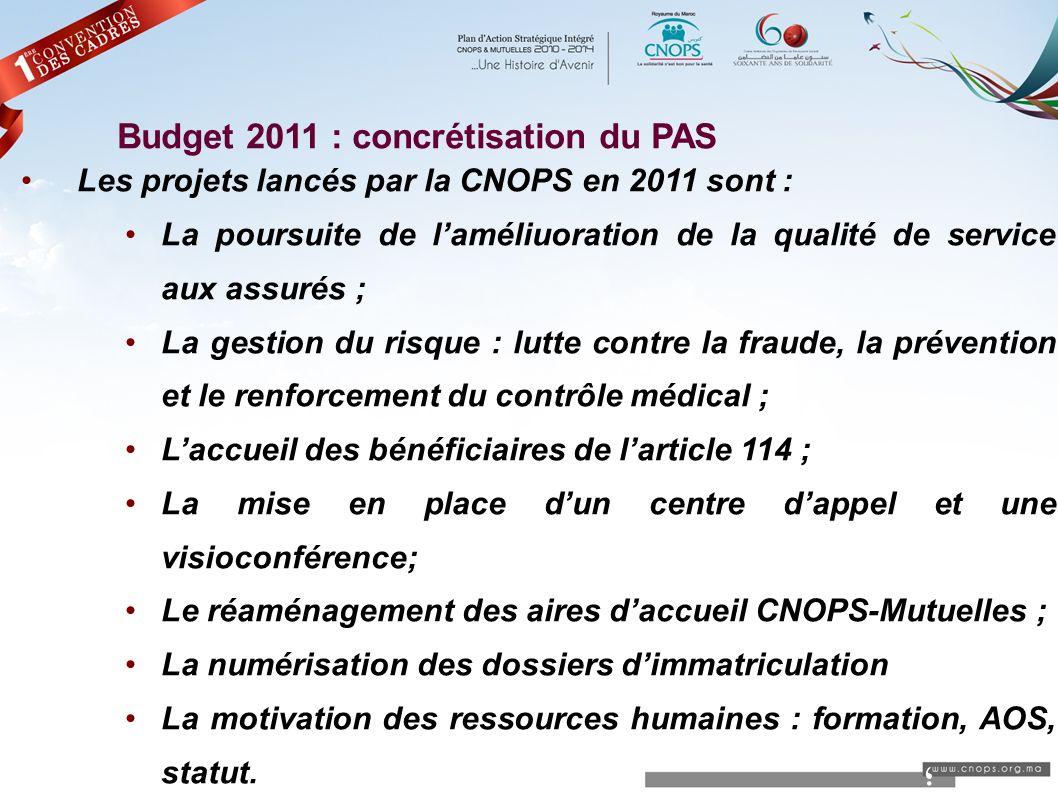 ؛ Budget 2011 : concrétisation du PAS