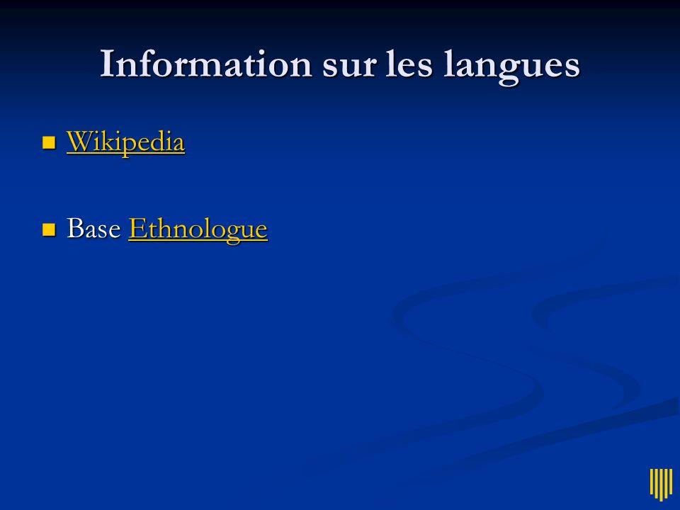 Information sur les langues