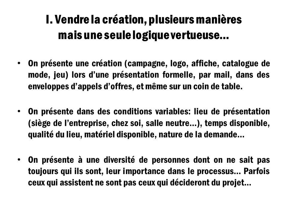 I. Vendre la création, plusieurs manières mais une seule logique vertueuse…