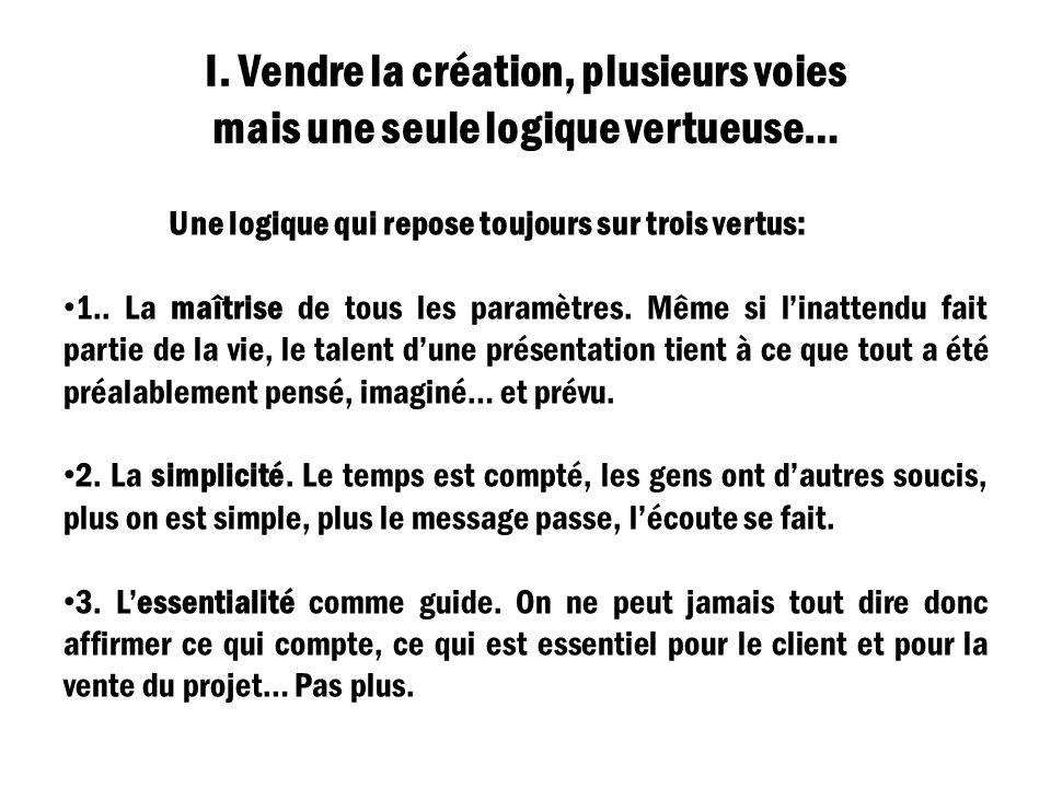 I. Vendre la création, plusieurs voies mais une seule logique vertueuse…