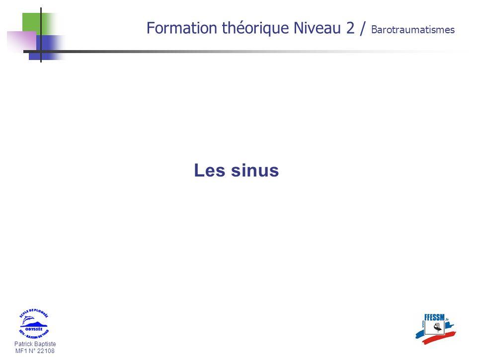 Les sinus Formation théorique Niveau 2 / Barotraumatismes * 16/07/96 *