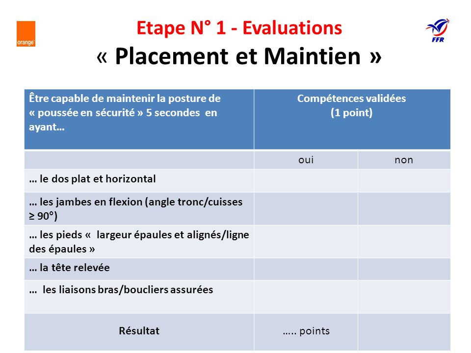 Etape N° 1 - Evaluations « Placement et Maintien »
