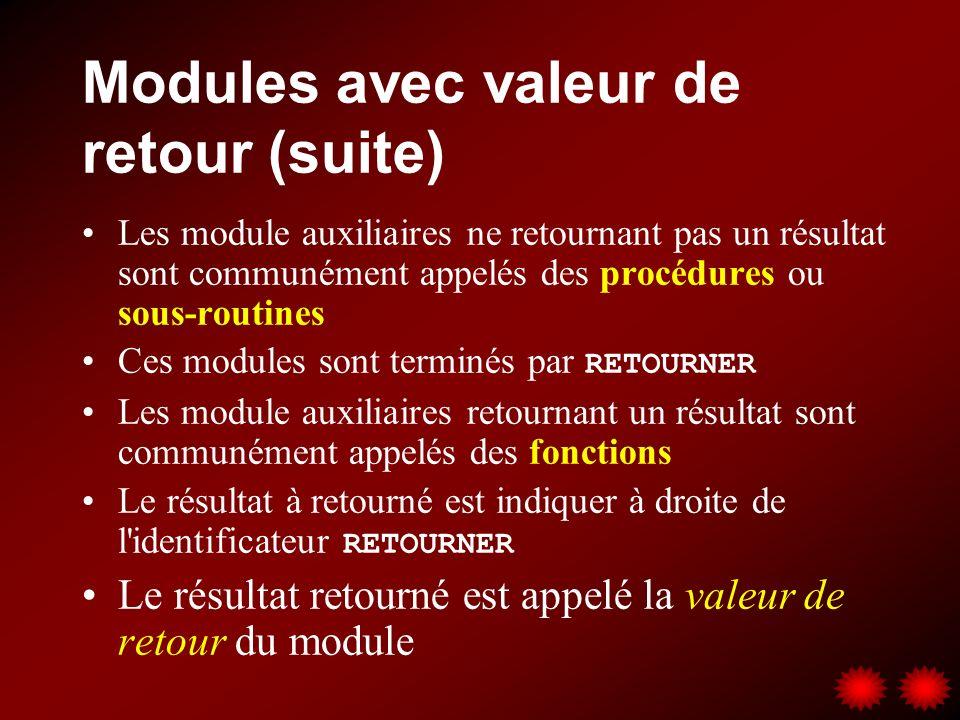 Modules avec valeur de retour (suite)