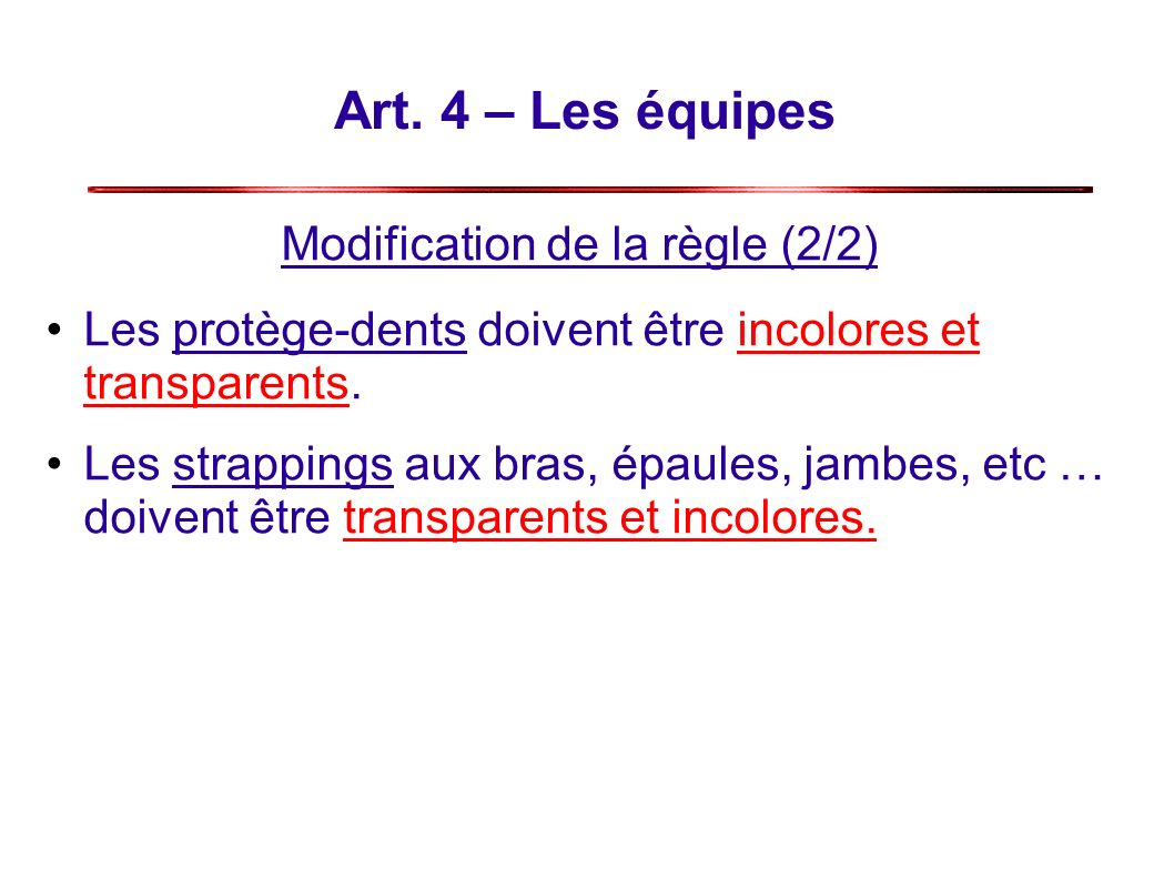Modification de la règle (2/2)