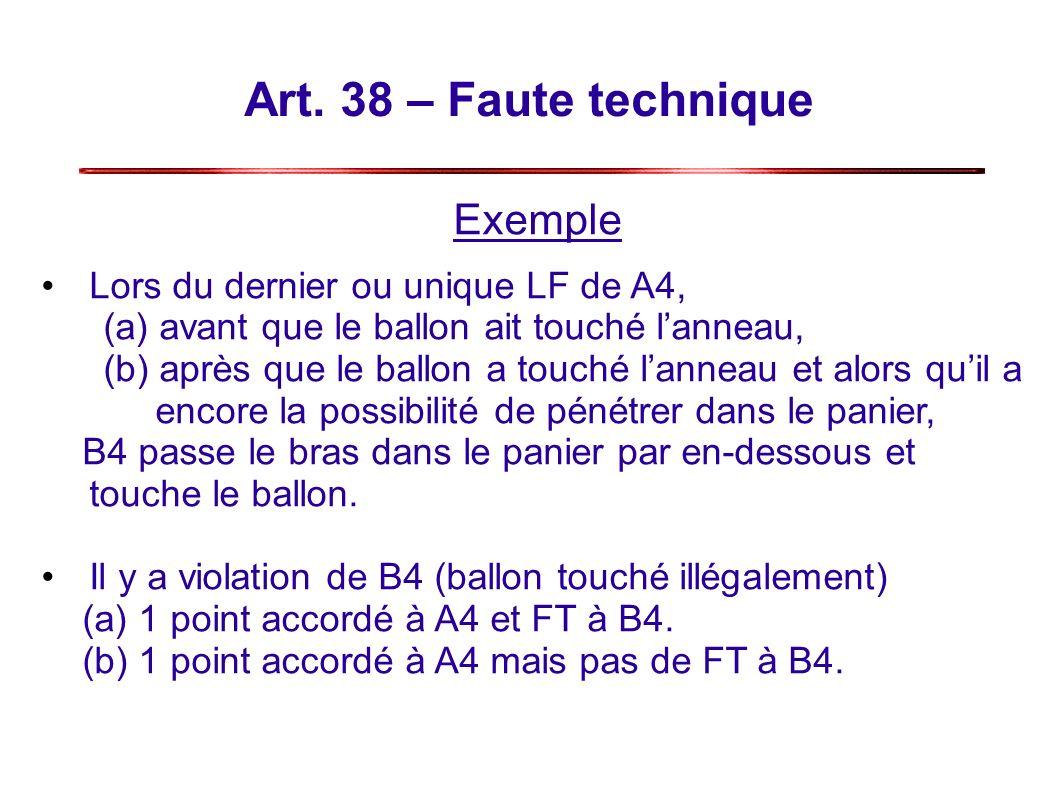 Art. 38 – Faute technique Exemple Lors du dernier ou unique LF de A4,