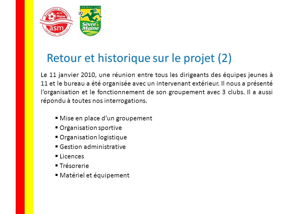 Retour et historique sur le projet (2)