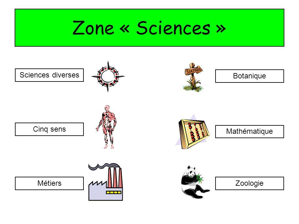 Zone « Sciences » Sciences diverses Botanique Cinq sens Mathématique