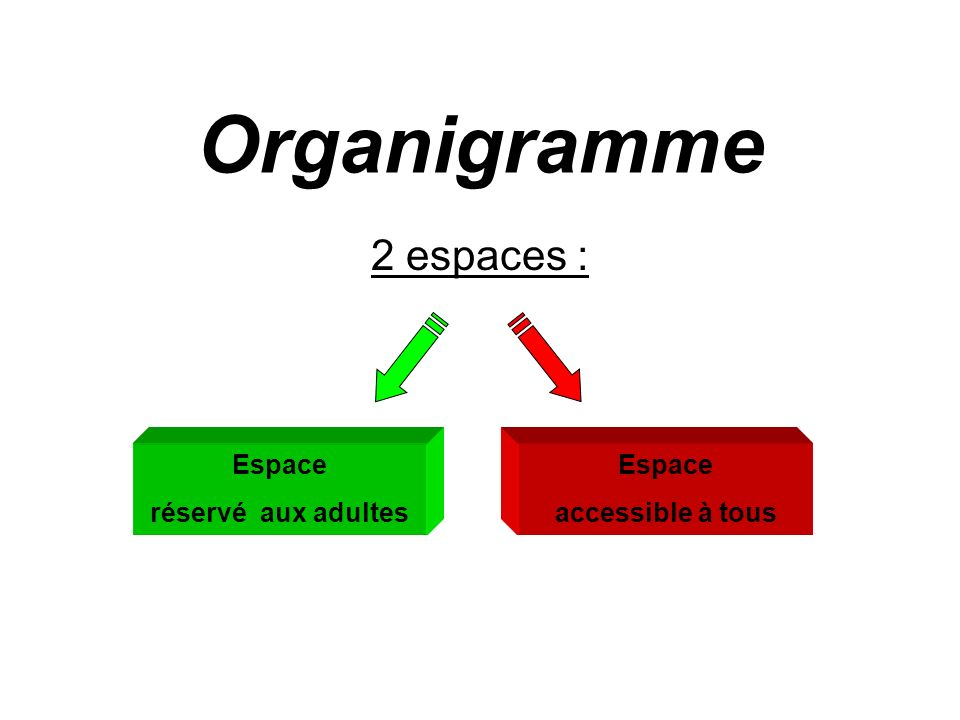 Organigramme 2 espaces : Espace réservé aux adultes Espace