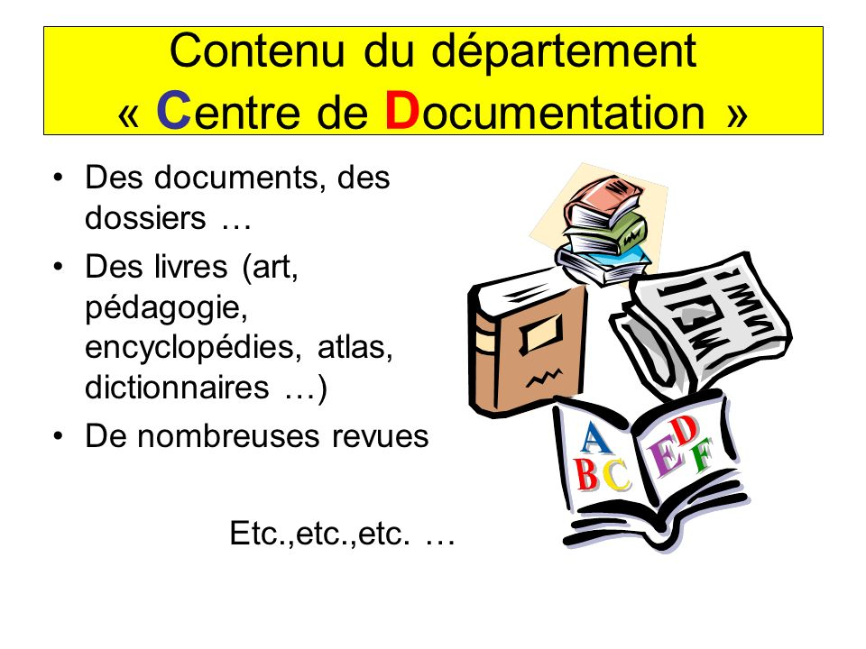 Contenu du département « Centre de Documentation »