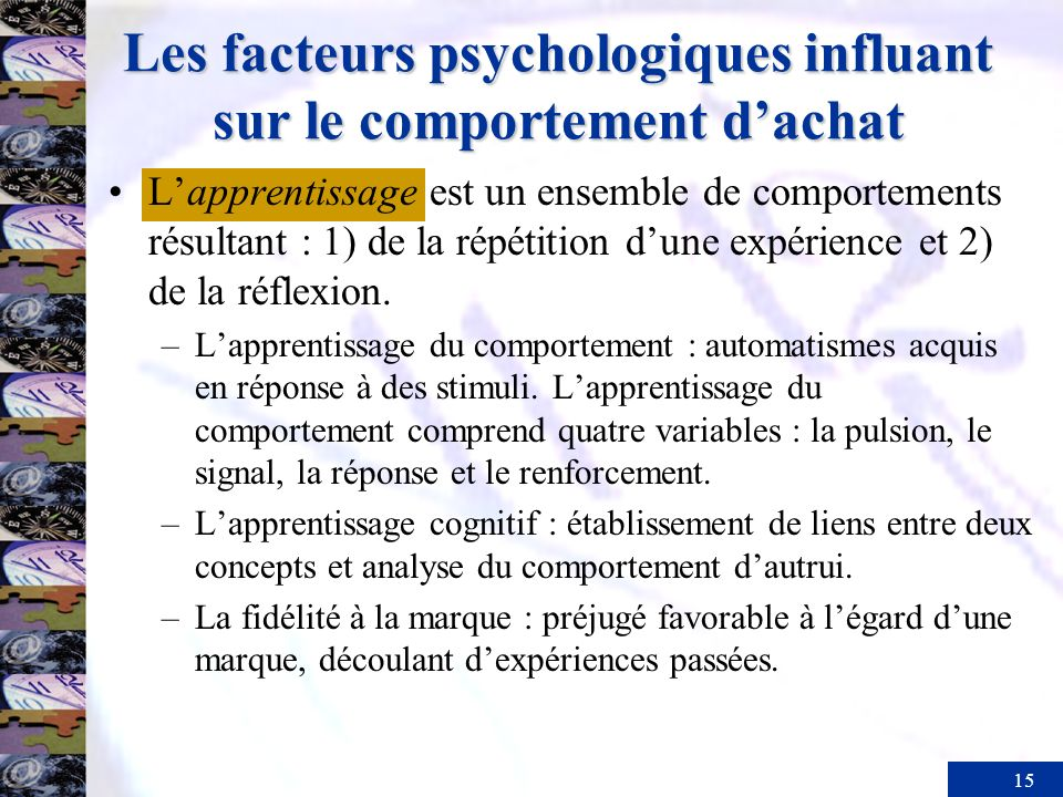 Les facteurs psychologiques influant sur le comportement d'achat