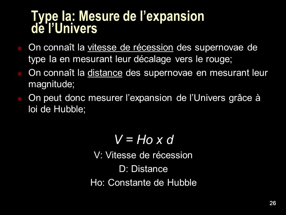 Type Ia: Mesure de l'expansion de l'Univers
