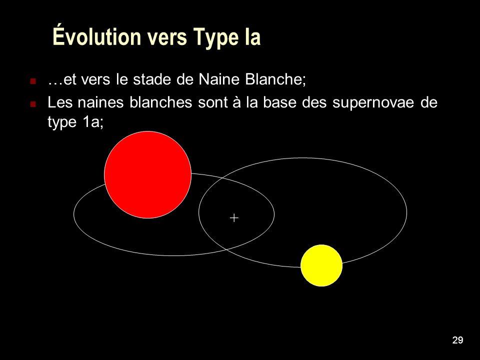 Évolution vers Type Ia …et vers le stade de Naine Blanche;