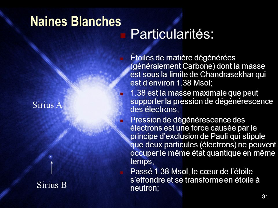 Naines Blanches Particularités: Sirius A Sirius B