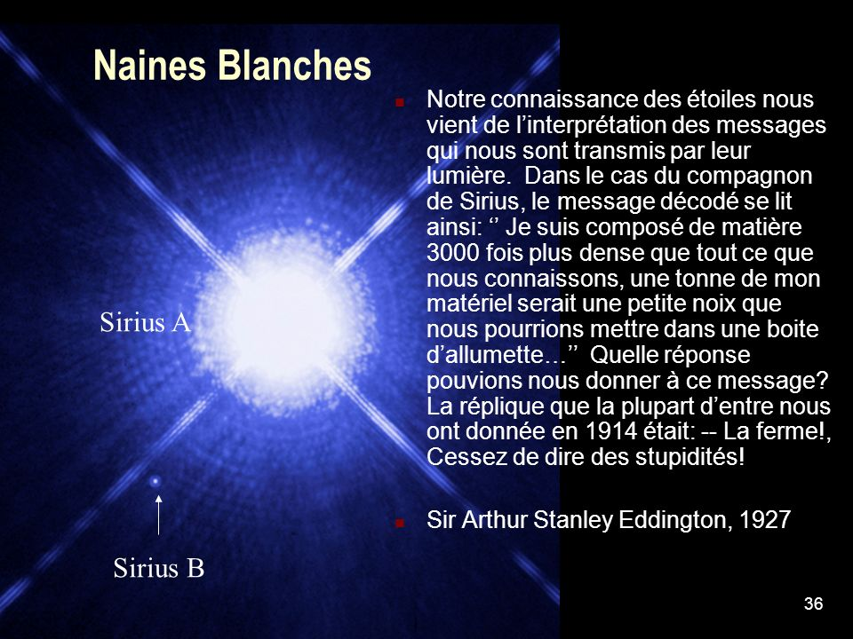 Naines Blanches Sirius A Sirius B