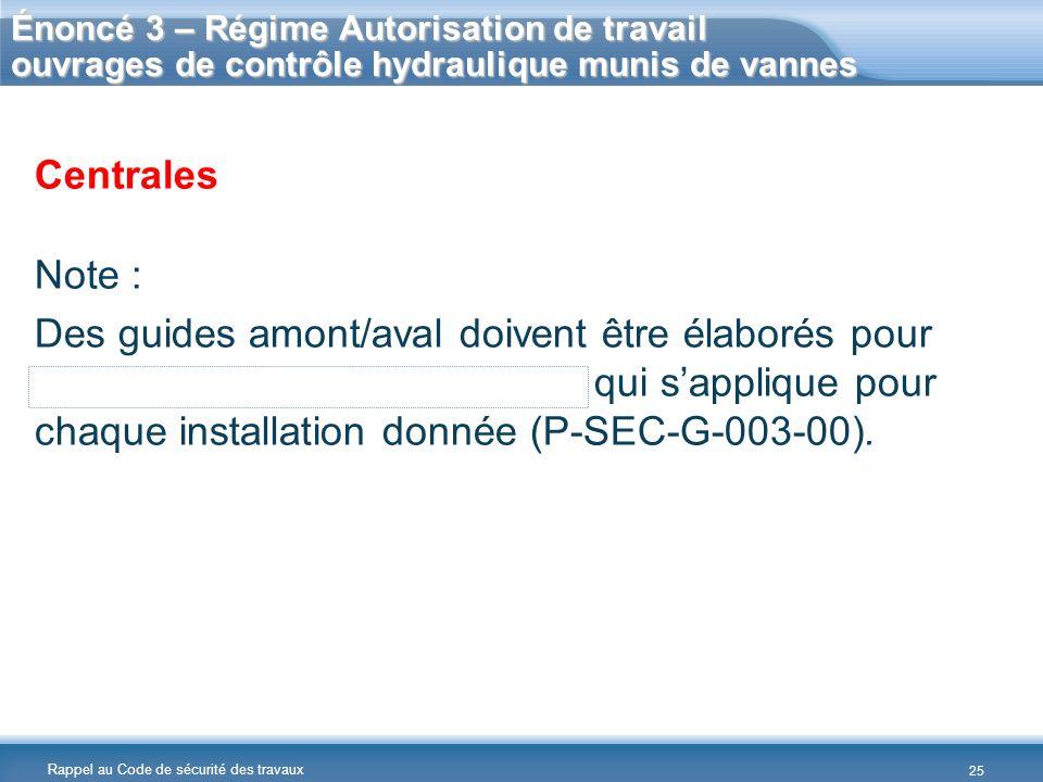 Énoncé 3 – Régime Autorisation de travail ouvrages de contrôle hydraulique munis de vannes