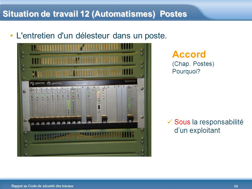 Accord Situation de travail 12 (Automatismes) Postes