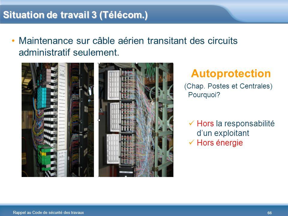 Autoprotection Situation de travail 3 (Télécom.)