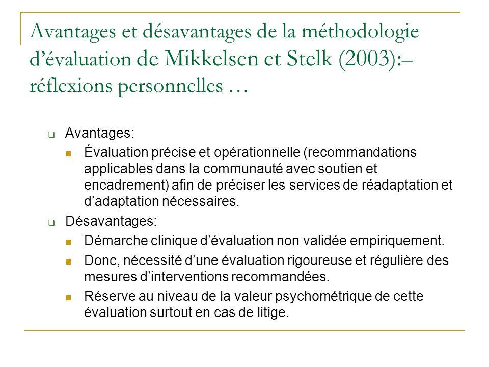 Avantages et désavantages de la méthodologie d'évaluation de Mikkelsen et Stelk (2003):– réflexions personnelles …