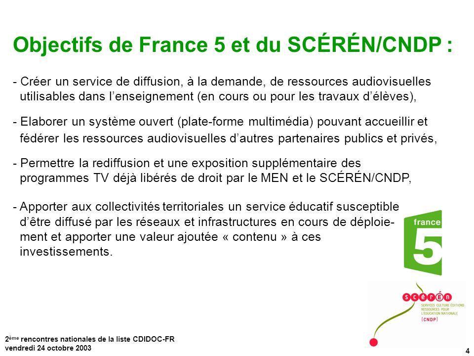 Objectifs de France 5 et du SCÉRÉN/CNDP :