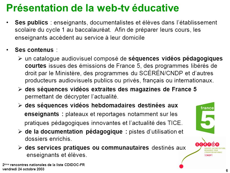 Présentation de la web-tv éducative