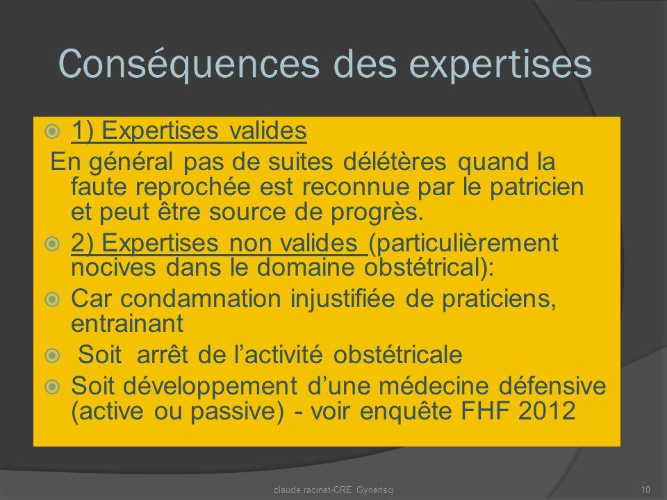 Conséquences des expertises