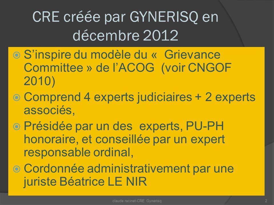 CRE créée par GYNERISQ en décembre 2012