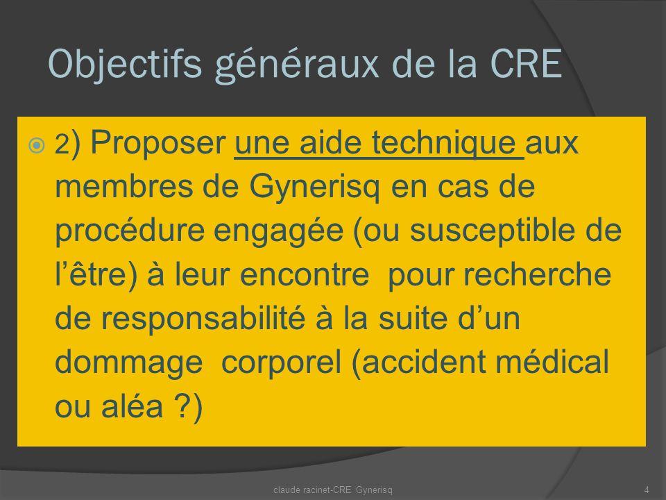 Objectifs généraux de la CRE