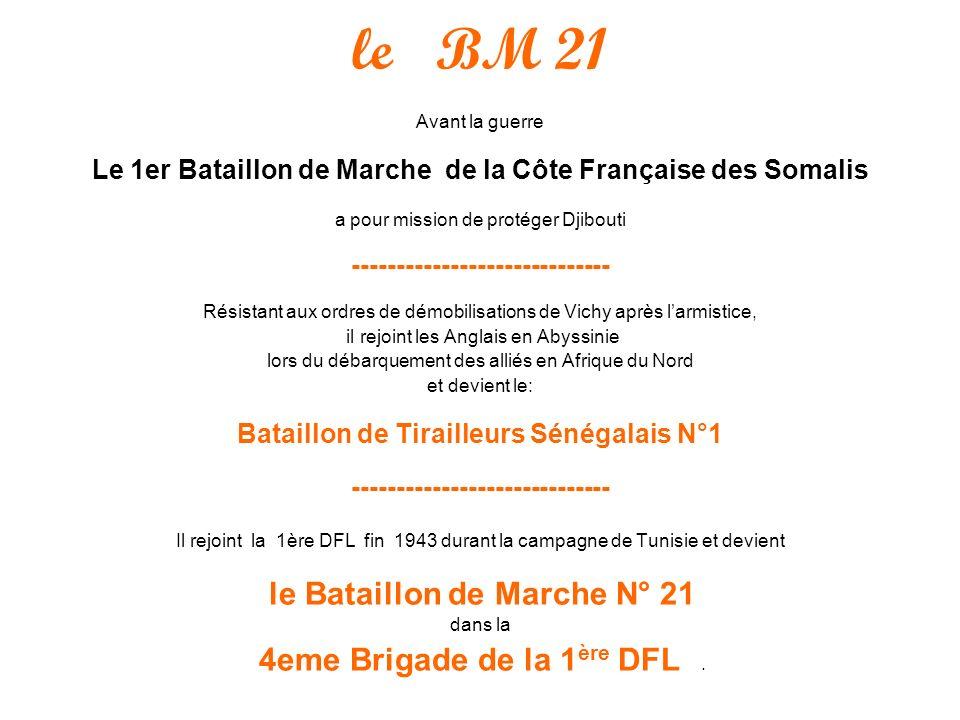 le BM 21 Le 1er Bataillon de Marche de la Côte Française des Somalis