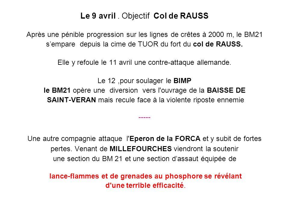 Le 9 avril . Objectif Col de RAUSS
