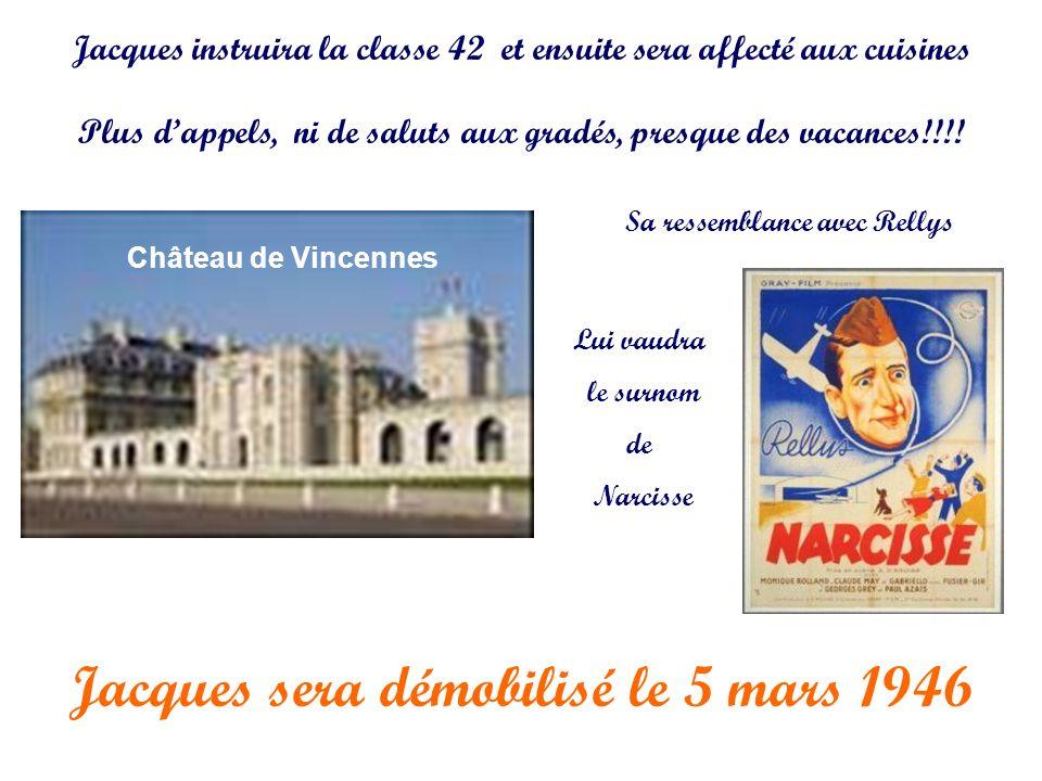 Jacques sera démobilisé le 5 mars 1946