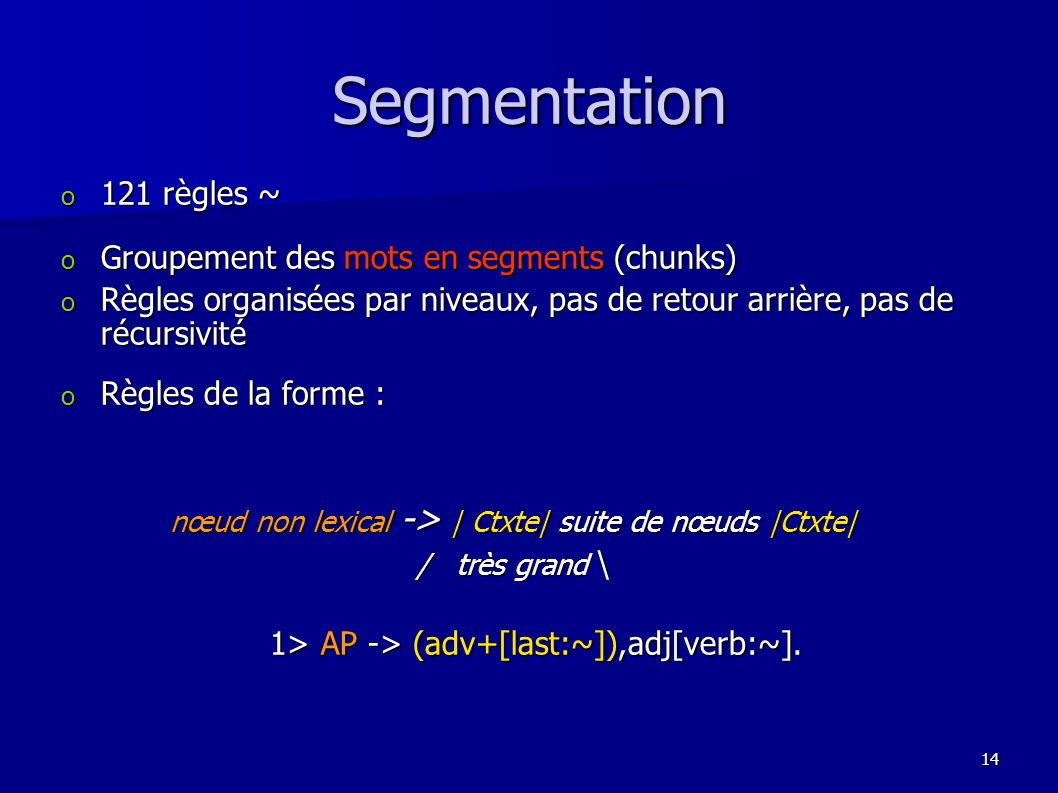 Segmentation 121 règles ~ Groupement des mots en segments (chunks)