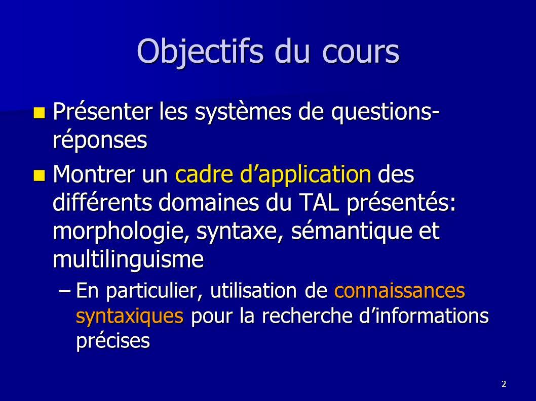 Objectifs du cours Présenter les systèmes de questions-réponses