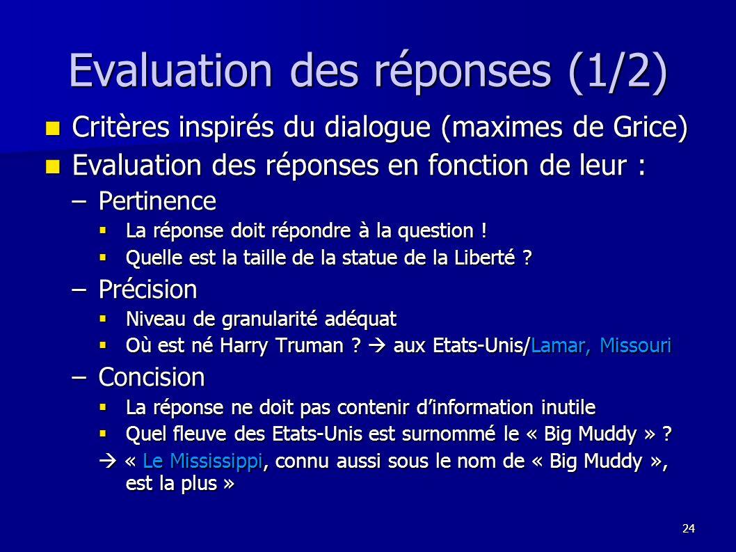 Evaluation des réponses (1/2)