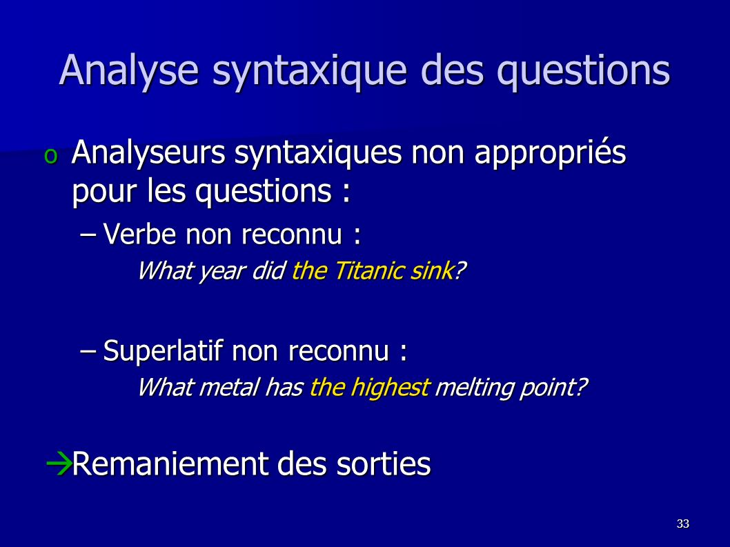 Analyse syntaxique des questions