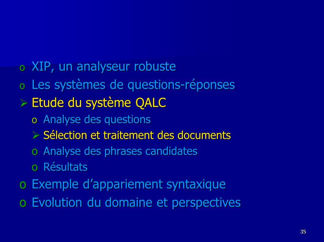 XIP, un analyseur robuste Les systèmes de questions-réponses