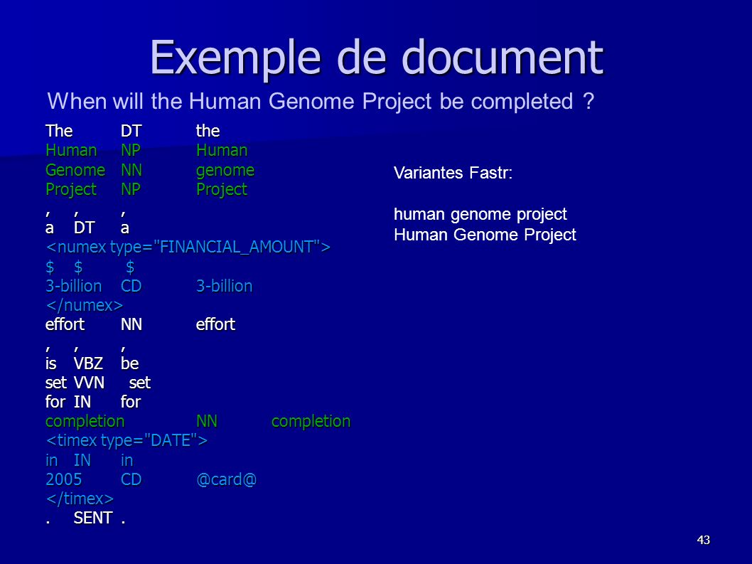 Exemple de document When will the Human Genome Project be completed