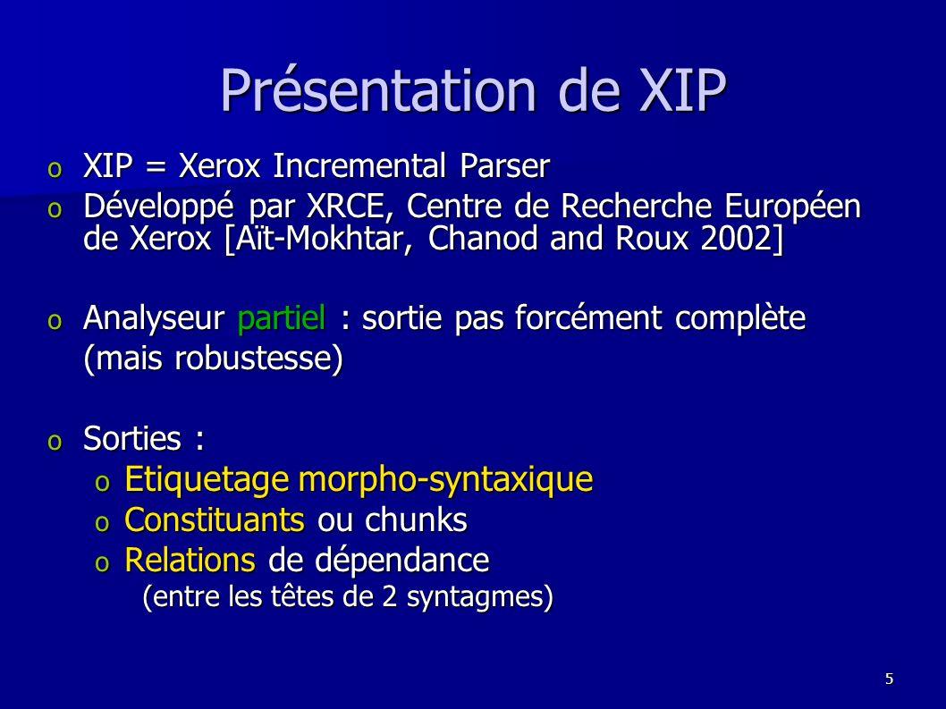 Présentation de XIP Etiquetage morpho-syntaxique