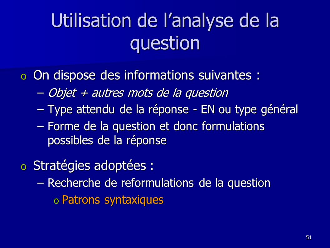 Utilisation de l'analyse de la question