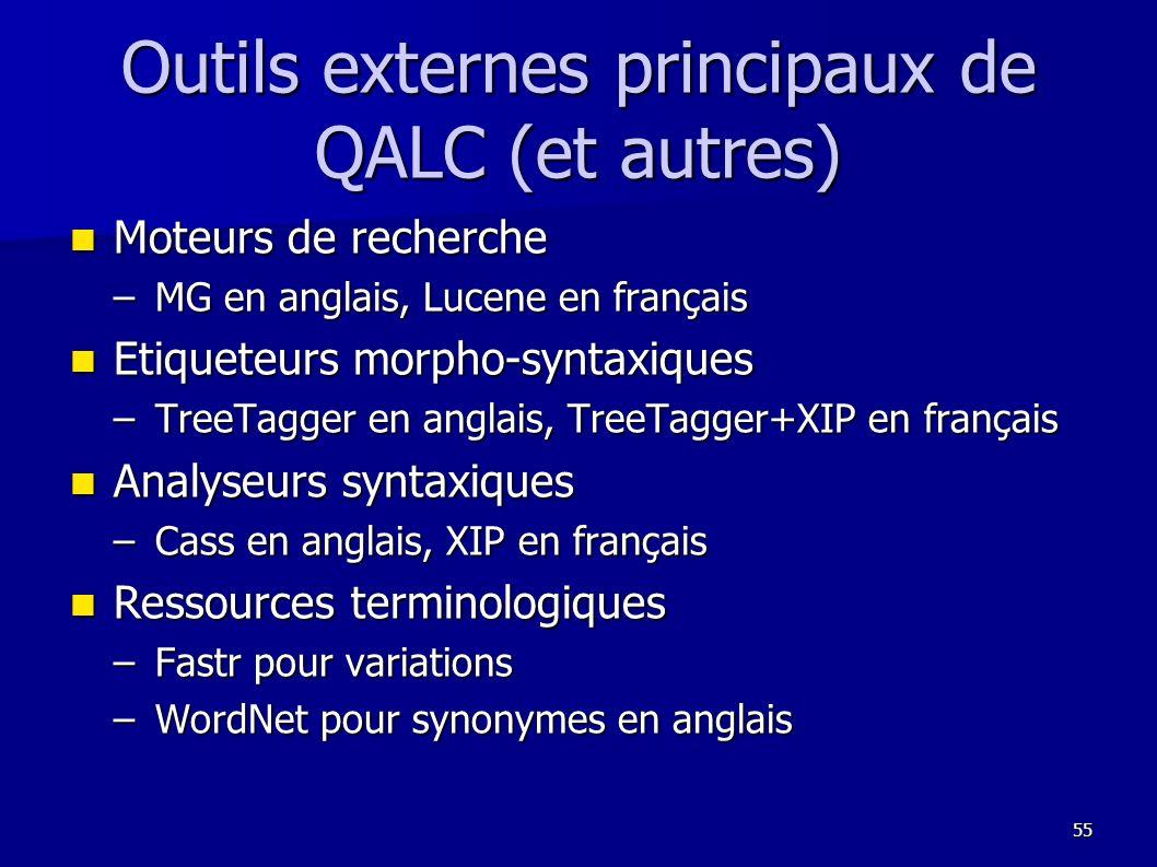 Outils externes principaux de QALC (et autres)