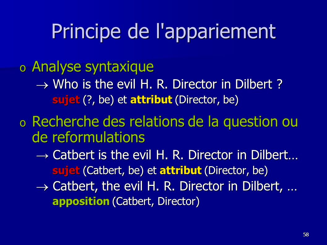 Principe de l appariement