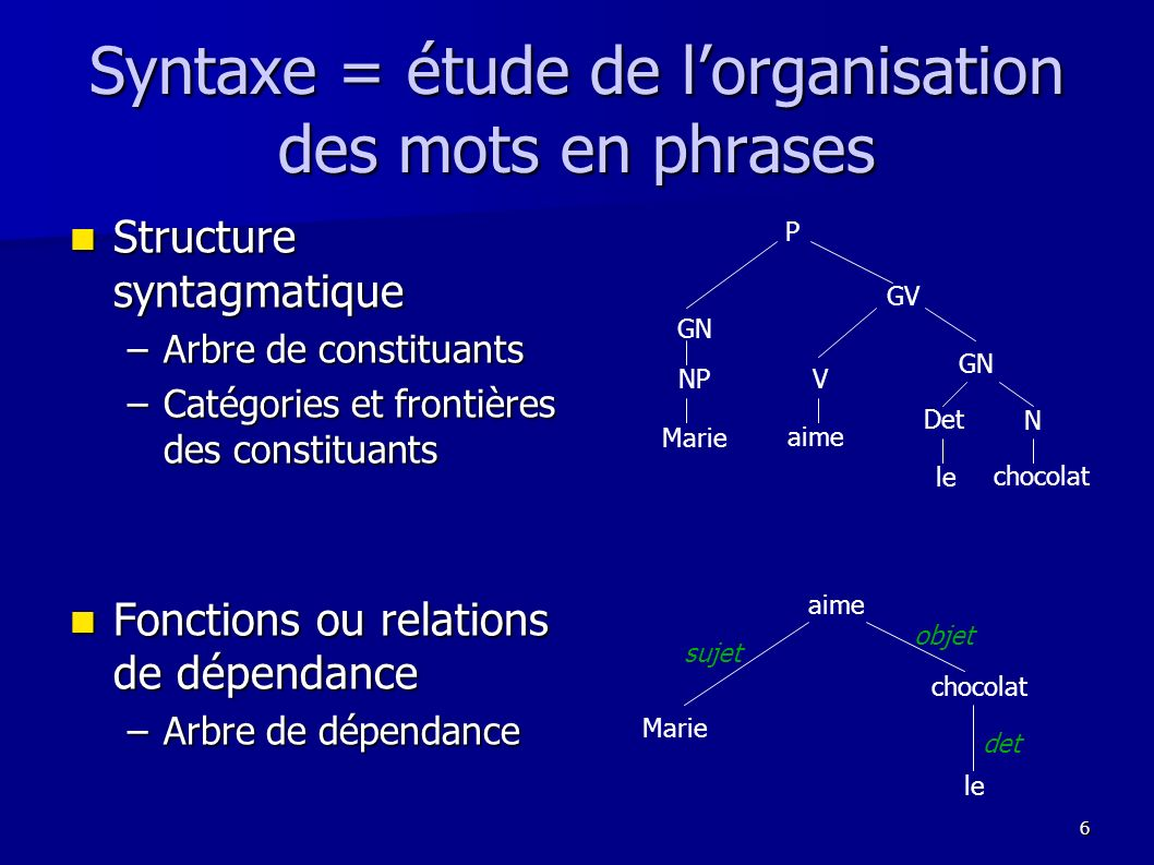 Syntaxe = étude de l'organisation des mots en phrases