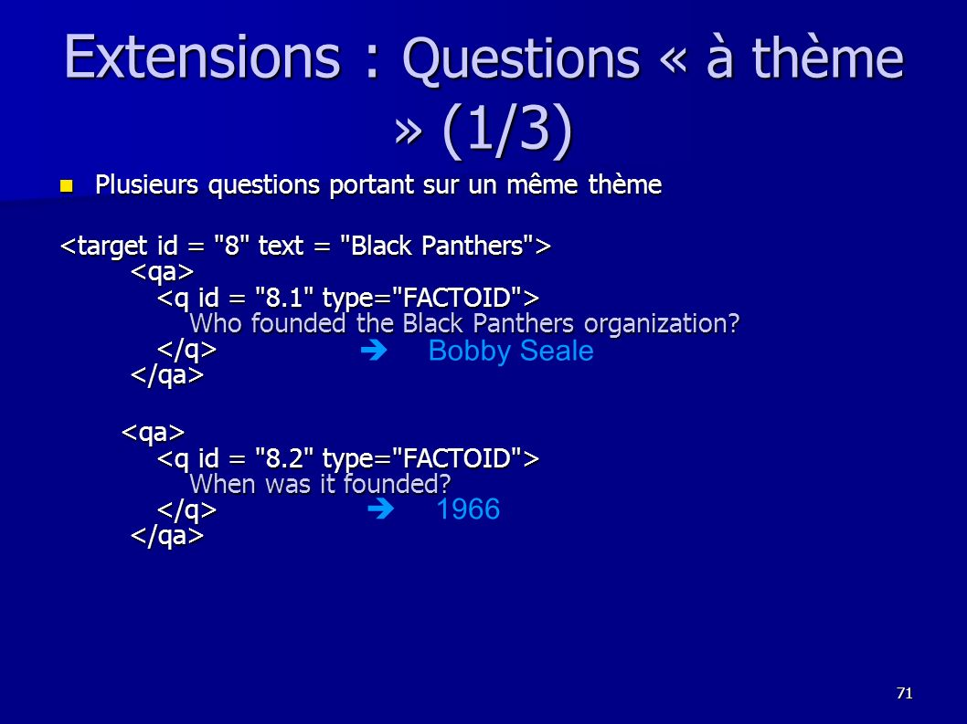 Extensions : Questions « à thème » (1/3)