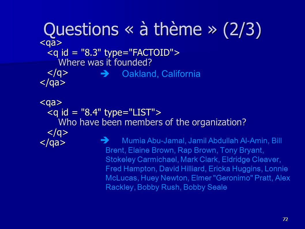 Questions « à thème » (2/3)